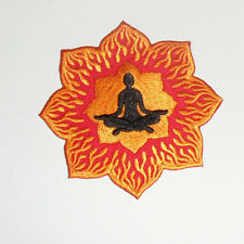 """Zen Lotus Flames Embroidered iron-on Patch 3 1/8"""""""