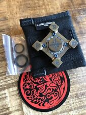NEW Steel Flame Ring Spin Brass Compass Rose Slug Set, YES/NO, Blue TI Screws