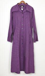 """NWT J PETERMAN Purple Cotton Stripe Caftan / Maxi Dress L/XL Bust 50"""""""