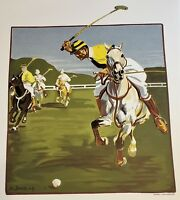 ANGELO JANK Huge ORIGINAL Stone LITHOGRAPH POLO Limited Edition EQUESTRIAN