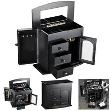 Jewelry Box Case Built-in Mirror Ring Earring Necklace Organizer Storage Black