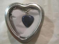 "Dark Blue Cats Eye Solid Heart 18"" Silver Necklace w/Heart Box~Free Ship~LBDLB"