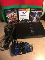 Sony Playstation 2 PS2 Bundle Blue Controller 3 Games Cords Works! Scph-39001