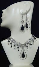 New Peruvian Obsidian Stone Alpaca Silver Necklace and Earrings Set Handmade