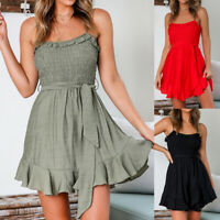 Ladies Sleeveless Ruched Square Neck Short Dress Summer Beach Casual Sundress