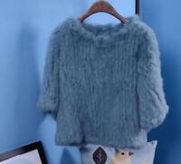 Real Genuine Knitted fox Fur Womens Warm Coat Jacket Outwear Short Winter