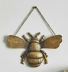 🐝 Hanging Gold Queen Bumble Bee 🐝 wall Art hanging plaque Ornament New