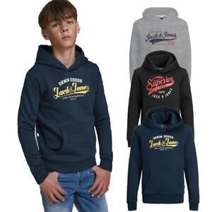 Jack & Jones Boys Drawstring Hoodie Logo Jr Sweatshirt Kids Junior Warm Jumper
