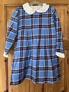 Girls Blue Tartan Dress Age 4-5 Years