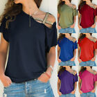 Womens Cold Shoulder Short Sleeve T Shirt Casual Solid Blouse Loose Tunic Tops