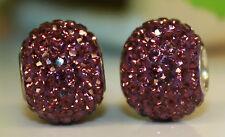 Lila Purple Plaume Diamant Strass Glas 925 Sterling Silber European BIC Beads