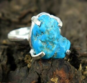 Good Friday Sale 27.75 Ct 925 Silver Natural Turquoise Gemstone Rough Men's Ring