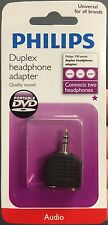 (2) Philips 3.5mm Stereo Y Adaptor Splitter Connects 2 headphones to one device