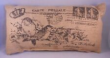 "CARTE POSTALE French Postcard Small Burlap Pillow - 12"" x 6"""