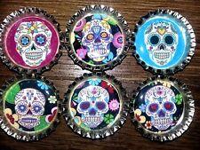 Six Colorful Skeleton Skulls Magnets on Silver Bottle Caps