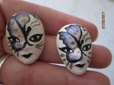 vintage butterfly face Hand painted Ceramic Mask Earrings Artistic porcelain