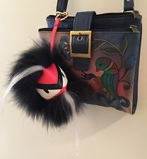 "POM POM MONSTER BAG CHARM, Black Raccoon Leather ""Foo Man"" J MICHAELS"