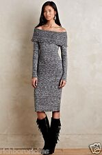 NWT Anthropologie Moth black & white Off The Shoulder Midi Sweater Dress L