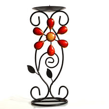 Red Resin Gem Metal Tea Light Candle Holder Stand Centerpiece Home Decorative