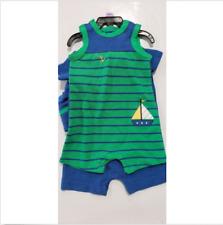 2ed60182e55 Little Me Boy s 3-piece Romper and Hat Set Size 3 Months Navy Multi