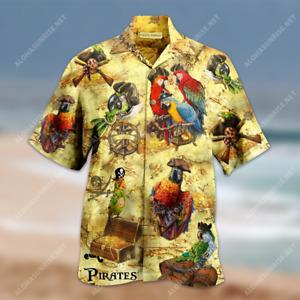 Amazing Pirate Parrots Unisex Hawaiian Shirt Summer Shirt Full Size S-5XL