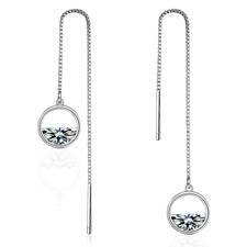 Exquisite 925 Sterling Silver Clear Zircon Round Tassel Chain Dangle Earrings