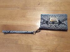MICHAEL KORS Tan Gray Snakeskin Leather Tri-Fold Wristlet Phone CASE 4 4S iPhone