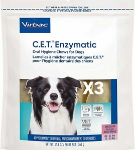 CET Enzymatic Oral Hygiene Chews for MD 26-50 Pounds 3 bags (90 Chews)