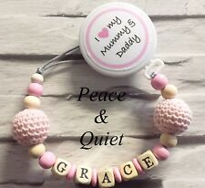 Personalised Wooden Dummy Clipi Love My Big Brotherchainpinkgirl #bwp