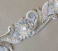 Hand-Beaded Bridal Trim. Silver. 1½ Yards. Embroidered with Bullion & Sequins