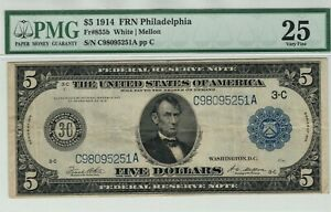 1914 $5 Federal Reserve Note Currency Philadelphia Fr.855b PMG Very Fine VF 25