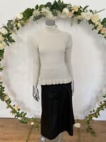 Influence Jumper Ribber Shimmer Size 10 High Neck Fitted Top Ivory Silver GG79