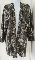 Womens Peruvian Connection Taupe Paisley Pima Cotton Edge To Edge Cardigan L.