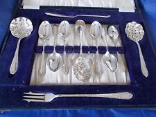 Vintage 12 piece A1 silver plated afternoon tea cutlery canteen box Sheffield