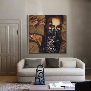 Woman Wearing Glasses And Mask Canvas Painting Posters Print On Canvas Wall Art
