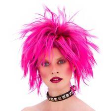 Rose vif 80s punk perruque rocker court 1980s accessoire robe fantaisie
