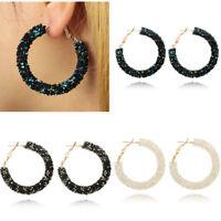 Women Fashion Elegant Hook Earrings Crystal Ear Stud Dangle Hoops Jewelry