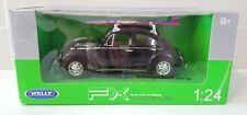 Welly Volkswagen Classic VW Beetle 1969 Black RARE Pink Surfboard 1:24 Model Car