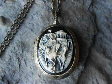 GRECIAN CHARIOT CAMEO LOCKET (HAND PAINTED) - HORSE, HORSES, GREECE, BRONZE,