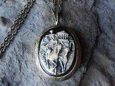 GRECIAN CHARIOT CAMEO LOCKET (HAND PAINTED) - HORSE, HORSES, GREECE, BRONZE,