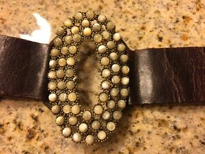 Natural Shell Bead And Leather Bracelet