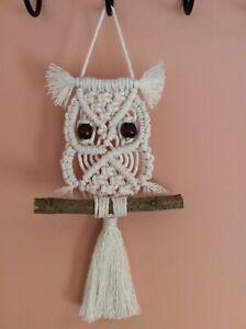 Handmade cotton macrame owl wall hanging birthday gift boho shabby chic animal