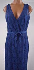 BCBG Max Azria NADIR Blue Depth Lace Tie Waist Long Evening Prom Gown Dress sz 8