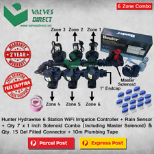"Hunter Hydrawise 6 Station WiFi Irrigation Combo-Qty 7 x 1""Solenoids&Rain Sensor"