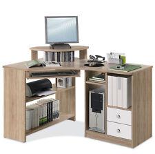 Eckschreibtisch Computertisch Arbeitstisch Schubladen Eiche Sonoma Weiß LOU 4
