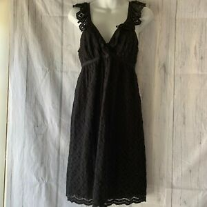 NWT Studio M Women's M Sleeveless Ruffle Trim V-Neck Black Lace Dress RN# 58822