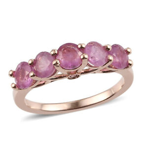Rose Gold Over 925 Sterling Silver Pink Sapphire 5 Stone Ring Gift Size Ct 1.9