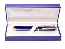 WATERMAN Gentleman Blue Lacquer & Gold Rollerball Pen & Mechanical Pencil Set