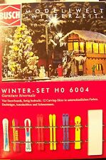 HO 1:87 Busch 6004 Winter Detail KIT with Skis, Snowboards, Roof Rack & Snowman