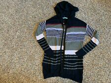 NEW NWT Maurices black multi color Striped Hooded long Open Cardigan SZ  Small